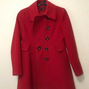 Bright red pea coat